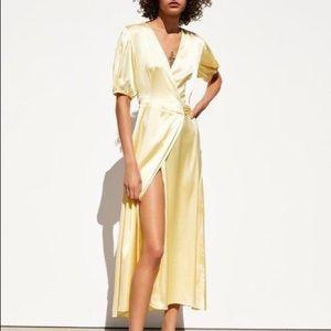 NWT Zara yellow wrap dress
